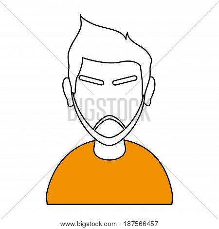 white and orange silhouette of cartoon half body faceless man with moustache and eyebrows vector illustration