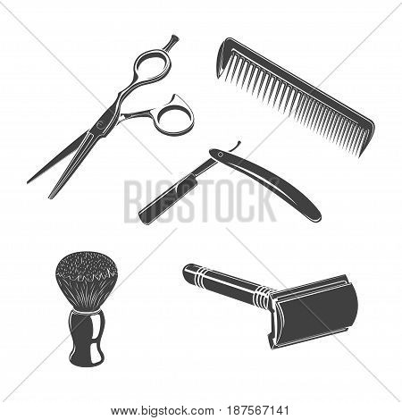 Set of five barbershop things, monochrome style, vector