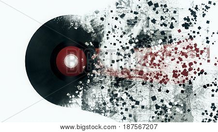 Burst Music Sign. Vinyl Disk Explosion, Hot Music, Illustration