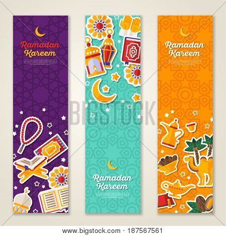 Ramadan Kareem concept vertical banners with flat sticker icons. Vector illustration. Eid Mubarak. Quran, Traditional Lanterns, Dates, Iftar food