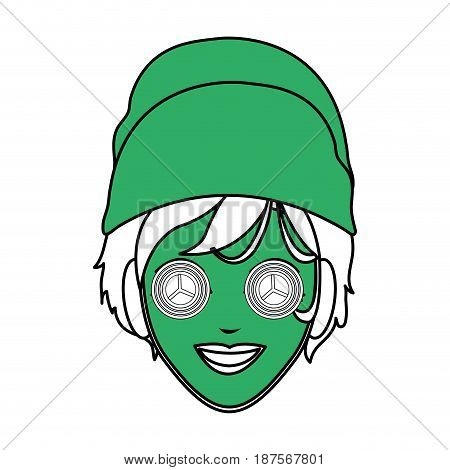 color silhouette with green face woman with towel in head and mask with cucumbers vector illustration