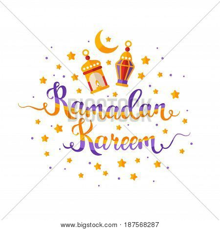 Ramadan Kareem colorful hand lettering with traditional lantern lamps, crescent and stars. Vector illustration.