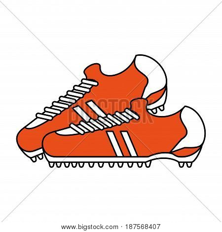 color silhouette with pair of soccer shoes vector illustration