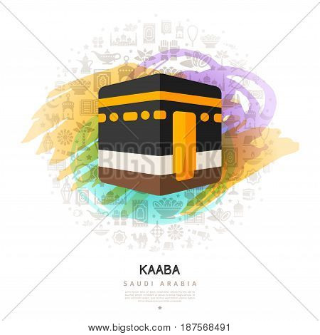 Kaaba icon on colorful watercolor background with flat arabian icons, hajj in Mecca. Vector illustration.