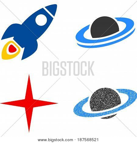 Space Rocket flat vector illustration collection. An isolated icons on a white background.