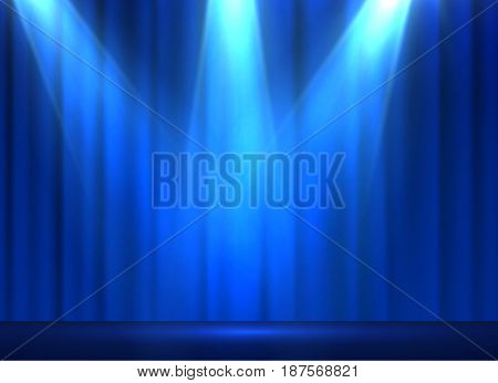 Curtains vector background with shiny spotlight. EPS10.