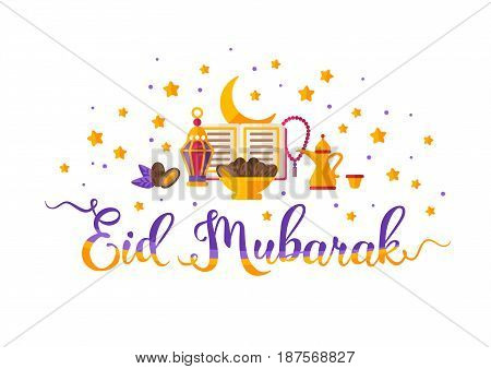 Eid Mubarak colorful hand lettering with Koran book, dates, traditional lantern, crescent and stars. Vector illustration.