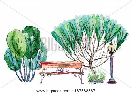 Hand drawn watercolor autumn background with park, outdoor elements: green trees, shrub, bench and lantern, isolated on the white background