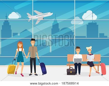 People sitting and walking in airport terminal. Airport. Travel and tourism. Flat design modern vector illustration concept.