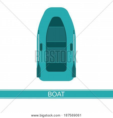 Inflatable boat vector icon with paddles isolated on white background flat style.