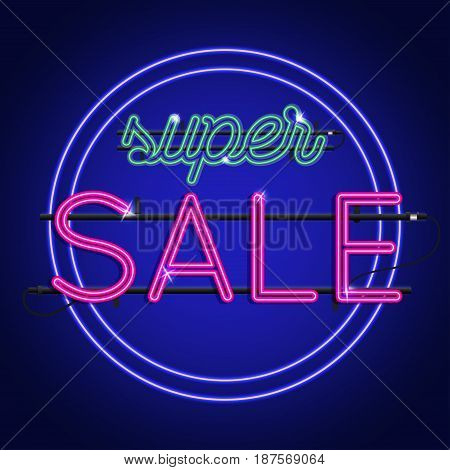 Bright Neon super sale sign. Vector background for your advertise discounts and business.
