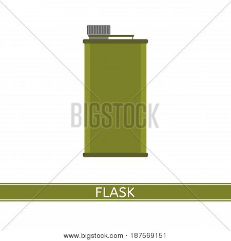 Camping water flask vector icon isolated on white background flat style. Tourist bottle for hiking fishing hunting outdoor activities.