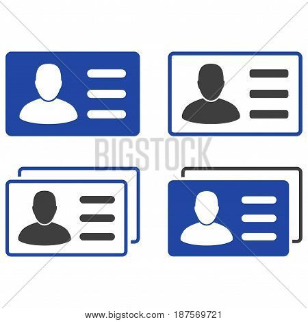 User Cards flat vector pictograph set. An isolated icons on a white background.