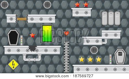 Seamless editable horizontal indoor background with green window and pipes for platform game
