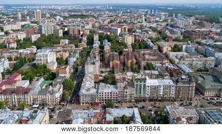 City landscape from the height of a bird's flight aerial photography