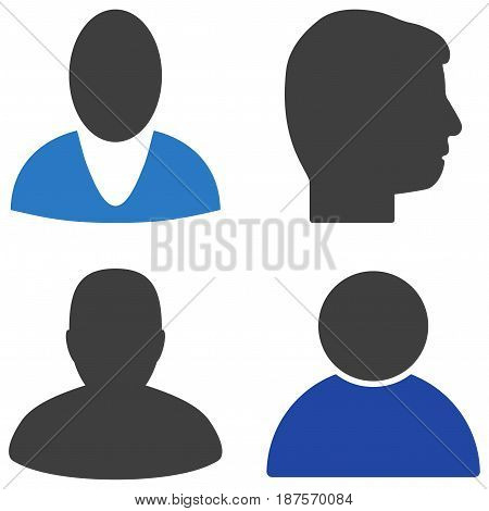 User Profile flat vector pictogram set. An isolated icons on a white background.