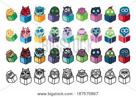 Hand Drawn Funny Owl with Book. Owls Learning subject for print fabric wrap and illustration game web and children items. . Vector