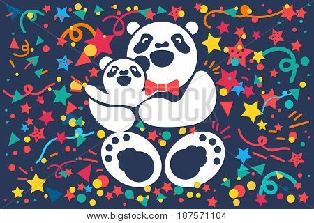 Nice cute celebration banner for Fathers Day with happy daddy bear and his son or daughter. Vector