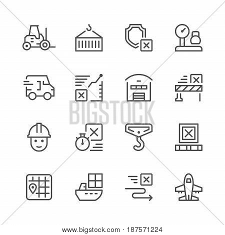 Set line icons of logistics isolated on white. Vector illustration