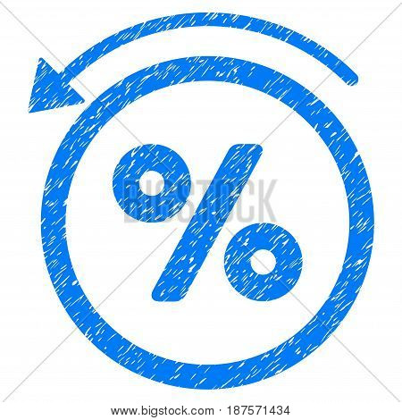 Grunge Rebate Percent icon with grunge design and dust texture. Unclean vector blue pictogram for rubber seal stamp imitations and watermarks. Draft emblem symbol.