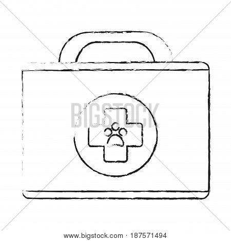 monochrome blurred silhouette of cartoon medical veterinary bag vector illustration