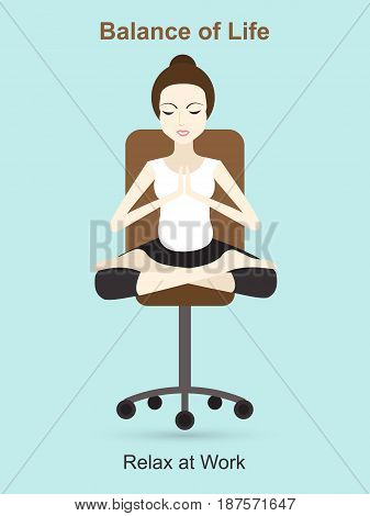 Woman meditating at work. Balancing life and work. Relax at work concept