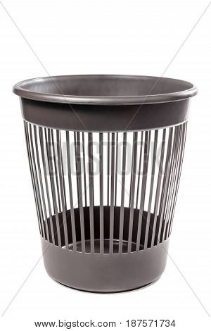 Classical office waste basket and paper isolated on white background