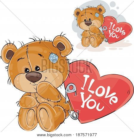 Vector illustration of a loving brown teddy bear sitting with a red heart pinned to it with the inscription I Love You. Print, template, design element