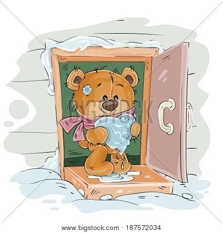 Vector winter illustration of a brown teddy bear standing on the porch of the house and holding in its paws a melting snowy heart. Print, template, design element