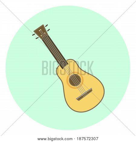 Flat colorful vector ukulele small wooden hawaiian guitar