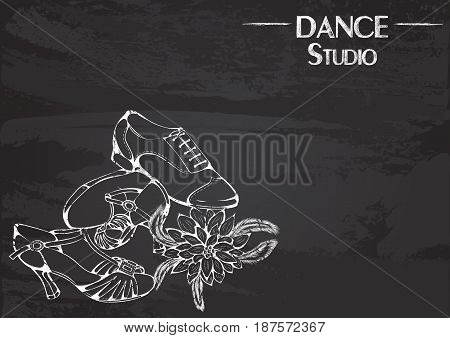 Monochrome vector illustration of ballroom latina shoes on abstract grunge background. Design for flyers, magazines and commercial banners. Series of dancing men and dance accessories on chalkboard.