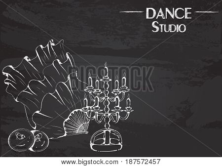 Monochrome vector illustration of belly dance accessories on abstract grunge background. Design for flyers, magazines and commercial banners. Series of dancing men and dance accessories on chalkboard.