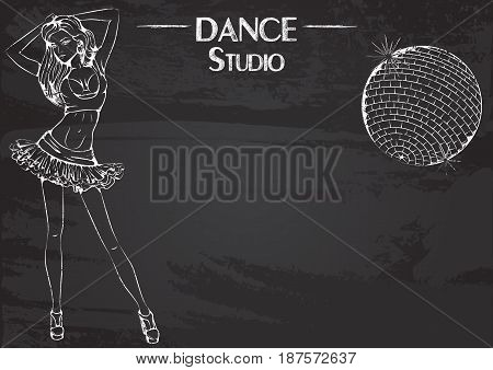 Monochrome vector illustration of young girl dancing club dance on abstract grunge background. Design for flyers, magazines and commercial banners. Series of dancing men and dance accessories on chalkboard.