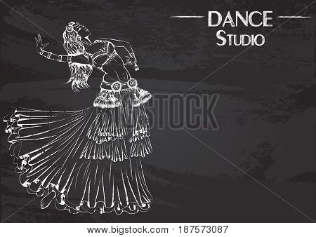 Monochrome vector illustration of young girl dancing tribal belly dance on abstract grunge background. Design for flyers, magazines and commercial banners. Series of dancing men and dance accessories on chalkboard.