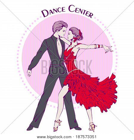 Color vector illustration of young couple dancing latina on color background. Dance Icon. Design for flyers, magazines and commercial banners. Series of dancing men and dance accessories.