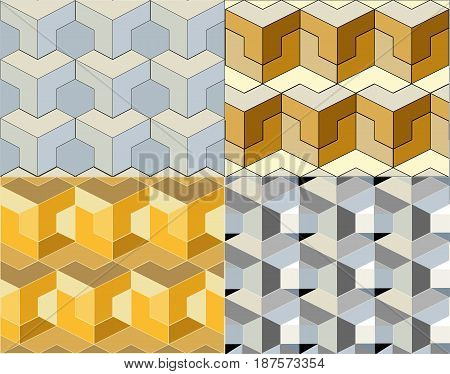 geometrical shape. four abstract multi color background