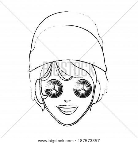 monochrome blurred silhouette of face woman with towel in head and mask with cucumbers vector illustration