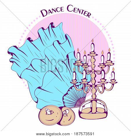 Color vector illustration of belly dance accessories on color background. Dance Icon. Design for flyers, magazines and commercial banners. Series of dancing men and dance accessories.