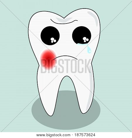 Vector cartoon sick tooth. Decay and destroy tooth. Cute tooth crying becouse of pain