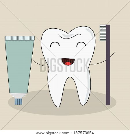 Tooth with a toothbrush, smiling toothpaste, illustration