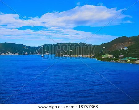 View from a cruise liner to the port of Tortola Island of British Virgin Islands. The image blurred in postproduction
