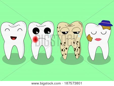 Bad teeth company. Problematic sick and unhealthy teeth concept. Funny cartoon characters.