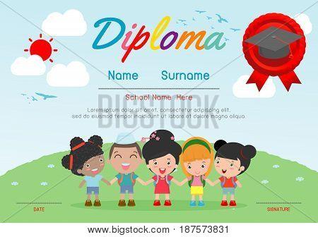 Certificates kindergarten and elementary, Preschool Kids Diploma certificate background design template, Diploma template for kindergarten students, Certificate of kids diploma, vector illustration