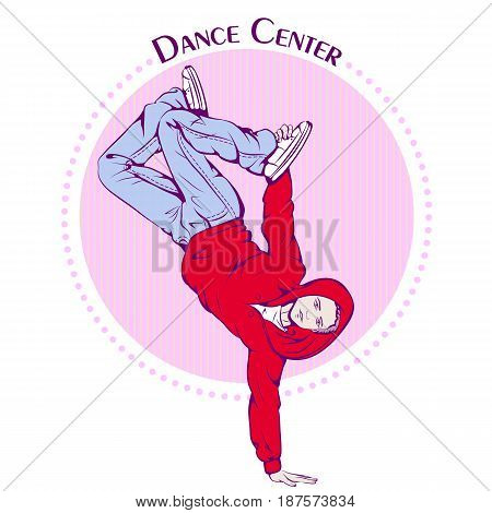 Color vector illustration of young girl dancing break dance on color background. Dance Icon. Design for flyers, magazines and commercial banners. Series of dancing men and dance accessories.