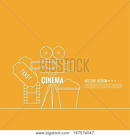 Abstract background with popcorn, 3D glasses,  filmstrip,  camera and  tickets. The concept of a cinema and watching a movie. Layout, flyer, poster for announcement. thin line