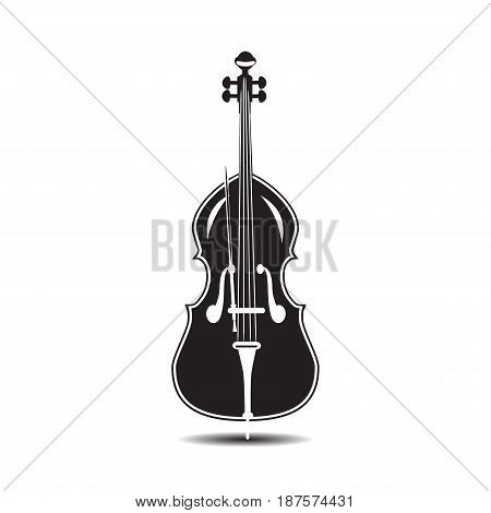 Vector illustration of double bass isolated on a white background. Black and white contrabass in flat style.