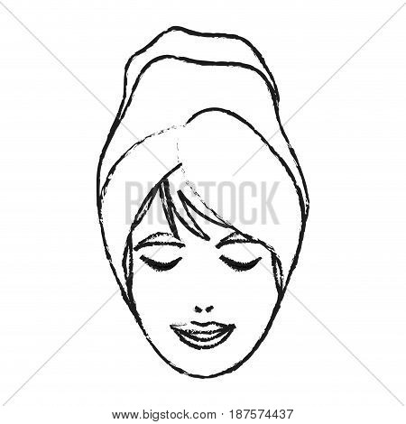 monochrome blurred silhouette of woman face with towel in head vector illustration