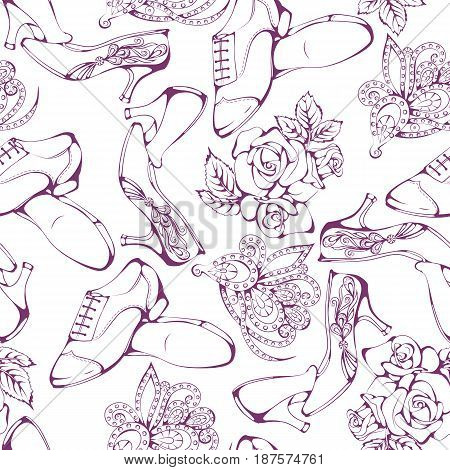 Seamless pattern of ballroom classic dance accessories on white background. Vector illustration. Design for flyers, magazines and commercial banners.
