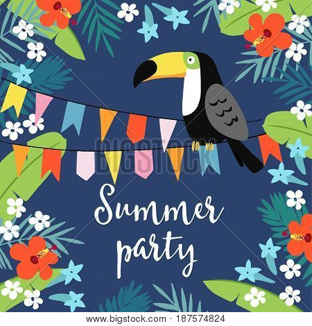 Summer party greeting card, invitation, invitations with hand drawn palm leaves, hibiscus flowers, toucan bird and party flags. Tropical jungle design, vector illustration background.