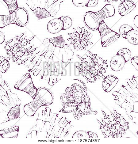 Seamless pattern of belly dance accessories on white background. Vector illustration. Design for flyers, magazines and commercial banners.